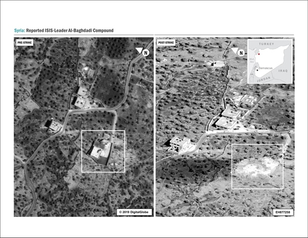 A side-by-side comparison of the al-Baghdadi compound before and after the raid. No collateral damage to adjacent structures Oct. 26, 2019. (DoD)