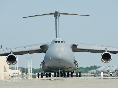 A C-5M Super Galaxy conducted a nose gear-up emergency landing at Travis Air Force Base in California Thursday night. In this photo, a C-5M taxis down the flight line before takeoff at Dover Air Force Base, Delaware. (Roland Balik/Air Force)