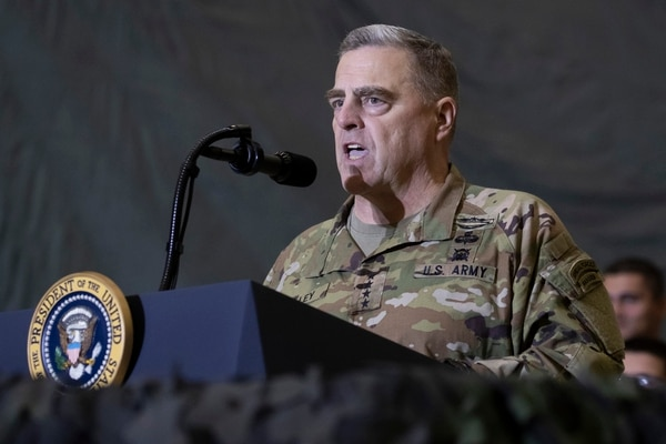 Joint Chiefs Chairman Gen. Mark Milley speaks to members of the military during a surprise Thanksgiving Day visit by President Donald Trump on Nov. 28, 2019, at Bagram Airfield, Afghanistan. (Alex Brandon/AP)