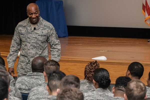 Chief Master Sergeant of the Air Force Kaleth O. Wright introduces himself to the Airmen of the 70th Intelligence, Surveillance and Reconnaissance Wing during an all-call, Aug. 16, 2017 at Fort George G. Meade, Md. During the CMSAF's visit he conversed with the Airmen about topics concerning airmanship, professionalism and future enlisted Air Force initiatives. (U.S. Air Force photo by Staff Sgt. Alexandre Montes)