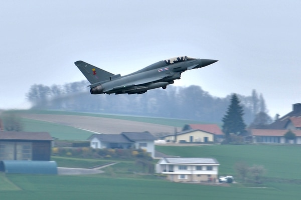 A Eurofighter aircraft takes off from Payerne air base in Switzerland on April 11, 2019. The Airbus-made plane kicks off a monthslong evaluation of five aircraft types in the running to replace Switzerland's fleet of warplanes. (Airbus)