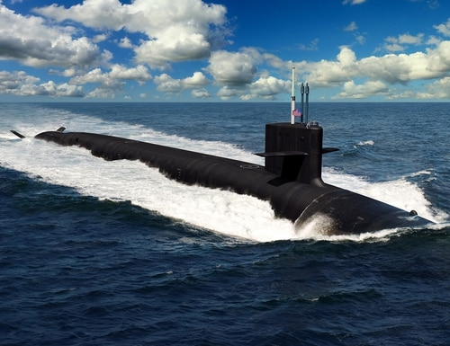 A rendering of the future ballistic missile submarine Columbia, the first of a 12-ship class of SSBNs. (Navy)