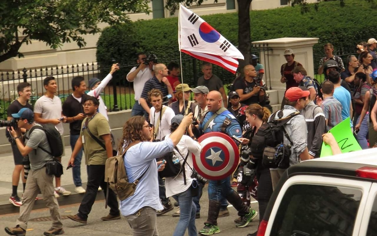 cc84daddbe Captain America-clad Marine vet squares off at Unite the Right 2 rally in  Washington