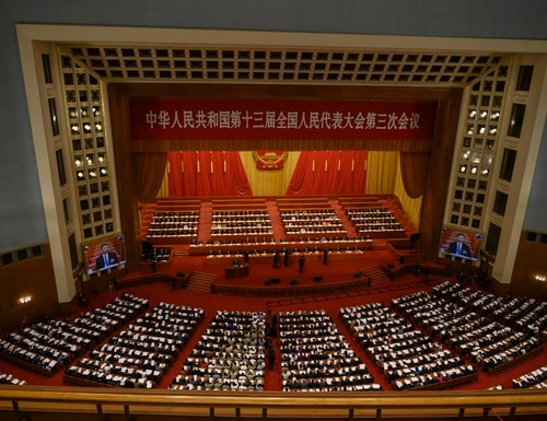 China's Communist Party leaders and delegates, including President Xi Jinping, sit at the opening of the National People's Congress on May 22, 2020, in Beijing, China. (Kevin Frayer/Getty Images)