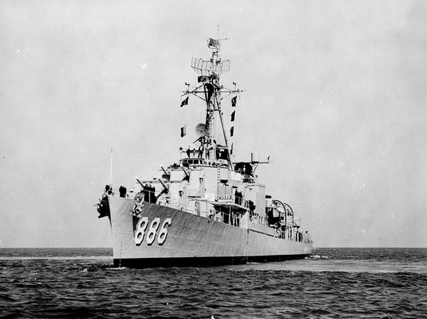 """The destroyer Orleck, underway on April 16, 1959, while """"Pawn Stars"""" reality television show star Richard Harrison was a member of the ship's crew. (Navy)"""