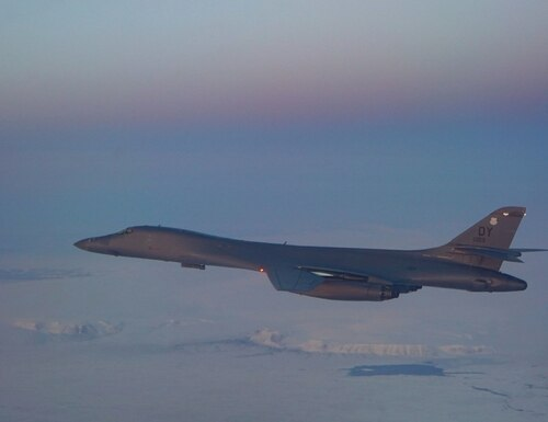 A B-1B Lancer assigned to the 345th Expeditionary Bomb Squadron flies over the Arctice Circle, Sept. 2. Two bombers assigned to the unit completed flights that passed directly over the North Pole enroute to interoperability training with the Norwegian air force. (Air Force)