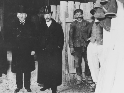 Horace Porter (center), American Ambassador to France, initiator of the search for the body of John Paul Jones, with Mr. Laurent, Secretary General of the Prefecture of Police (left), and Colonel. A. Bailly-Blanchard, Second Secretary of the American Embassy (right), at the excavations at the Cemetery of St. Louis, in 1905. (Courtesy of Horace P. Mende, Kusnacht, Switzerland, 1973, now in the collections of the U.S. Naval History and Heritage Command)