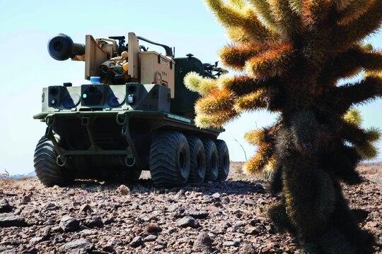 The autonomous system Origin prepares for a practice run during the Project Convergence capstone event at Yuma Proving Ground, Ariz. (Spc. Carlos Cuebas Fantauzzi/U.S. Army)