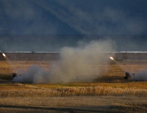 Two Romanian Multiple Launch Rocket Systems fire rockets into the Black Sea during Exercise Rapid Falcon Nov. 19, 2020. (Sgt. H. Marcus McGill)