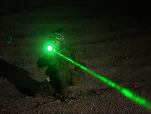 Pentagon scientists are developing a laser system that can be used to dazzle, talk to or heat up a person at a distance of hundreds of meters or multiple kilometers. (Cpl. Lauren A. Kurkimilis/Marine Corps)