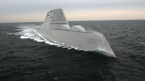 The destroyer Michael Monsoor successfully completed acceptance trials in February. (Navy via Bath Iron Works)