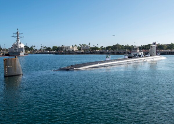 180126-N-KV911-0035 PEARL HARBOR (Jan. 26, 2018) Virginia-class fast-attack submarine USS Missouri (SSN 780) arrives at Joint Base Pearl Harbor-Hickam, after completing a change of homeport from Groton, Connecticut, Jan. 26. The Pentagon has requested funding for two more Virginia-Class subs in the FY19 budget.