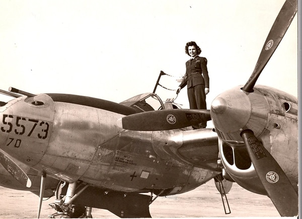 Dorothy Olsen, seen on a P-38 Lightning, during her time with the Women Airforce Service Pilots. (Courtesy photo)