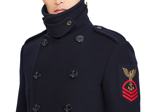 Ralph Lauren's new Wool-Cashmere Peacoat will have you feeling like the saltiest of all seafaring mariners, minus all the salt. (Screenshot from Ralph Lauren)
