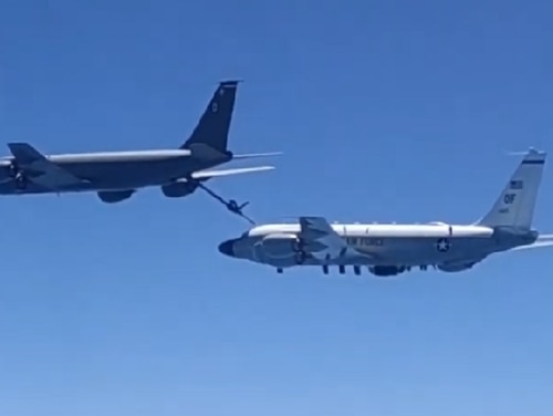 The Russian Defense Ministry posted video of their intercept Friday of U.S. reconnaissance and refueling aircraft over the Black Sea in what they claim was a spying mission near their border. (Still from video/Russia Ministry of Defense)