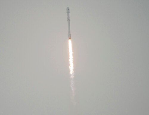 The SpaceX Falcon 9 rocket is seen as it launches with the Jason-3 spacecraft onboard, Sunday, Jan. 17, 2016, from Vandenberg Air Force Base Space Launch Complex 4 East in California. Jason-3, an international mission led by the National Oceanic and Atmospheric Administration (NOAA), will help continue U.S.-European satellite measurements of global ocean height changes. (Bill Ingalls/NASA via AP))