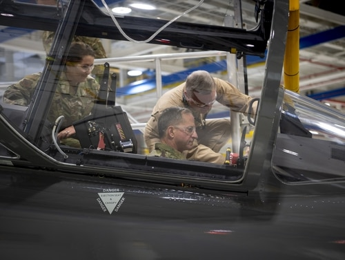 Air Force Chief of Staff Gen. Dave Goldfein sits inside the cockpit of Boeing's T-7 training jet during a Jan. 15, 2019, visit to the company's production facility in St. Louis, Mo. The Boeing T-7 is the first Air Force jet to be produced using digital manufacturing techniques. (Boeing)