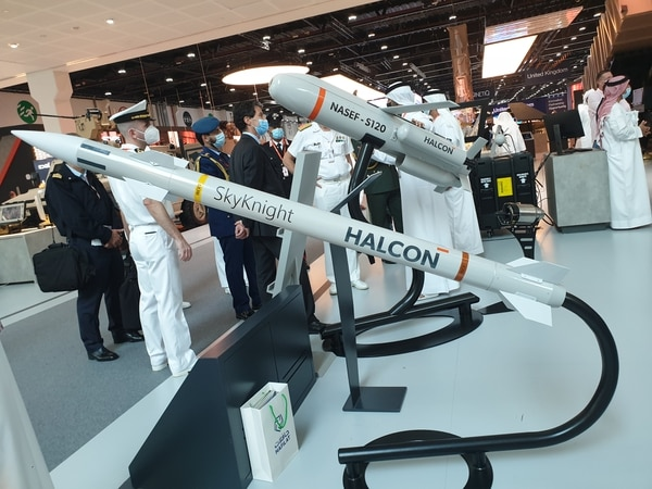 SkyKnight, which was unveiled at IDEX 2021, is a radar-equipped missile made by Emirati defense company Halcon. (Agnes Helou/Staff)