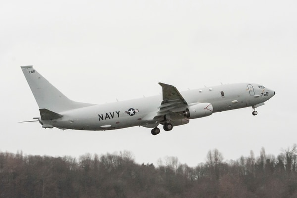 A P-8A Poseidon anti-submarine and maritime patrol aircraft takes off from a Boeing facility in Seattle, Wash., for delivery to fleet operators in Jacksonville, Fla., marking the 20th overall production P-8A aircraft for the U.S. Navy. (U.S. Navy photo)