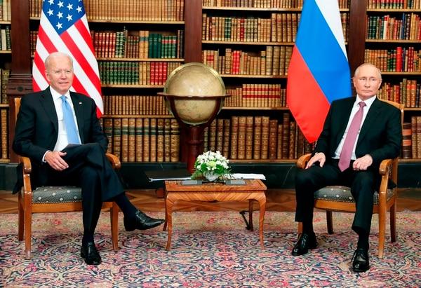 U.S. President Joe Biden, left, and Russian President Vladimir Putin pose for media during their meeting at the