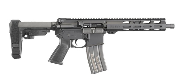 A profile shot of Ruger's AR-556 in .300 BLK, featuring an SB Tactical brace and a 9-inch aluminum handguard with M-LOK attachment points (Photo Ruger)
