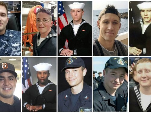 Families of five of the fallen McCain sailors attended the court-martial of the ship's former commanding officer. Top row (L to R): Chief Electronics Technician Charles N. Findley; Electronics Technician 2nd Class John H. Hoagland III; Electronics Technician 2nd Class Kenneth A. Smith; Electronics Technician 2nd Class Dustin L. Doyon; Chief Interior Communications Electrician Abraham Lopez. Bottom row, Information Systems Technician 2nd Class Timothy T. Eckels Jr.; Information Systems Technician 1st Class Corey G. Ingram; Electronics Technician 1st Class Kevin S. Bushell; Electronics Technician 2nd Class Jacob D. Drake; Interior Communications Electrician 2nd Class Logan S. Palmer. (Navy)