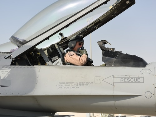 Lt. Gen. Joseph Guastella, commander of U.S. Air Forces Central Command and former commander of the 555th Fighter Squadron, prepares for his flight in one of his former squadron's F-16 Fighting Falcon at Al Udeid Air Base, Qatar Nov. 4. (Senior Airman Hope Geiger/Air Force)