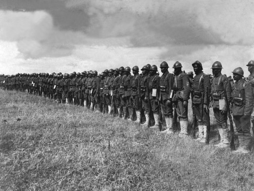 Negro troops in France. Picture shows a part of the 15th Regt. Inf. N.Y.N.G. organized by Col. Haywood, which has been under fire. Ca. 1918. IFS. (War Dept.) Exact Date Shot Unknown NARA FILE #: 165-WW-127-4 WAR & CONFLICT BOOK #: 476