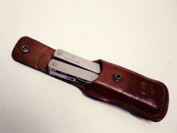 The Victorinox Swisstool Spirit XC fits perfectly in the Red Clouds Collective Multi-tool Sheath. (Staff)