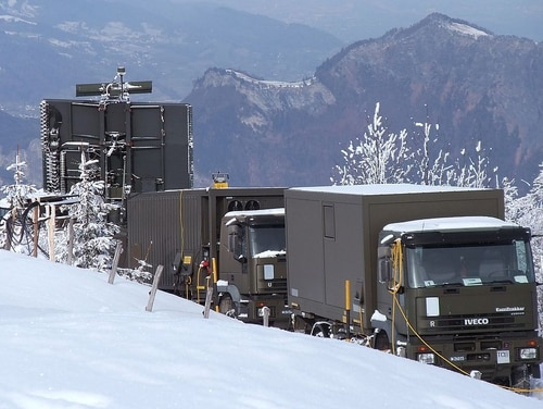 Swiss forces position air-surveillance equipment in the Alps near Davos, Switzerland, on Jan. 23, 2011, to protect the World Economic Forum. (Kecko)