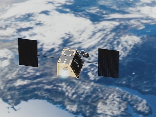 A rendering of a OneWeb satellite in low-Earth orbit. (OneWeb)
