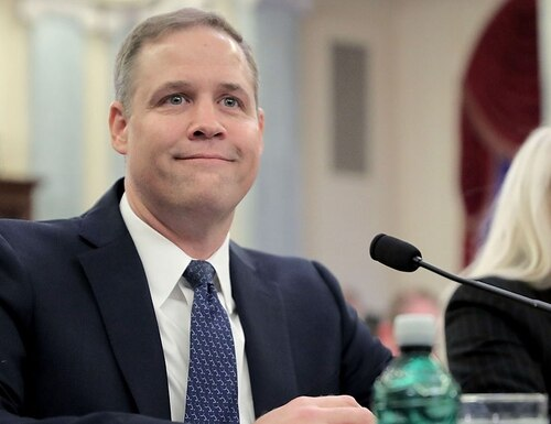 Rep. James Bridenstine, R-Okla., testifies before the Senate Commerce, Science and Transportation Committee during his confirmation hearing to be NASA administrator in the Russell Senate Office Building on Capitol Hill, Nov. 1, 2017, in Washington, DC. (Chip Somodevilla/Getty Images)