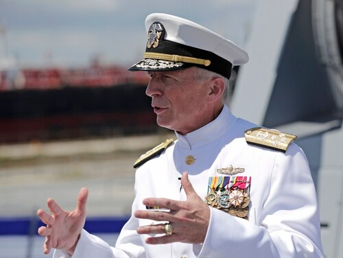 In this July 27, 2019, file photo, Adm. Craig Faller, commander of U.S. Southern Command, speaks with the news media following a commissioning ceremony for the U.S. Navy's guided missile destroyer Paul Ignatius, at Port Everglades in Fort Lauderdale, Fla. (Lynne Sladky/AP)