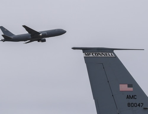 A KC-46A Pegasus takes off from McConnell Air Force Base, Kan., on Feb. 26, 2019. (Airman 1st Class Alexi Myrick/U.S. Air Force)