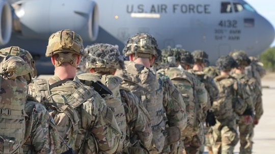 Army Paratroopers assigned to the 82nd Airborne Division deploy from Pope Army Airfield in North Carolina on Jan. 1, 2020. Elements of the group mobilized for missions in the Middle East, in response to increased threat levels against U.S. personnel and facilities from Iran. (Capt. Robyn J. Haake/Army)