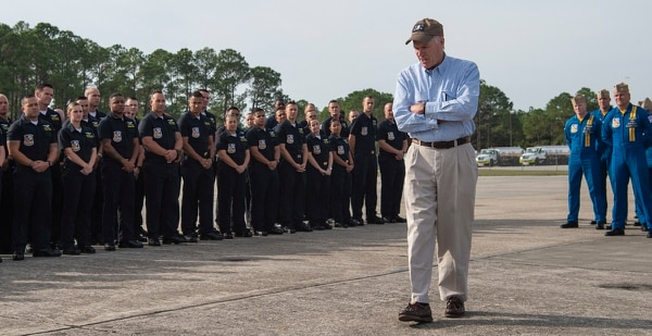 Richard Spencer, here as secretary of the Navy, visits sailors and Marines in Naval Air Station Pensacola, Fla. (MC2 Timothy Schumaker/U.S. Navy)