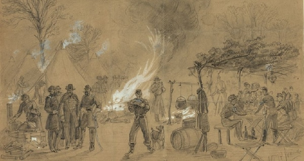 Civil War artist Alfred R. Waud sketched this scene of Thanksgiving in camp on Thursday, Nov. 28, 1861 (Library of Congress)