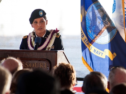 In this Nov. 11, 2015, photo, Maj. Tulsi Gabbard, Hawaii Army National Guardsman and U.S. House of Representative for Hawaii's 2nd District, delivers a keynote address during a Veterans Day ceremony aboard the Battleship Missouri Memorial at Pearl Harbor, Hawaii. (Petty Officer 2nd Class Jeff Troutman/U.S. Navy via AP)