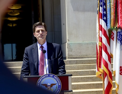 Dana Deasy, the Department of Defense Chief Information Officer, speaks at the Pentagon in June 2018. He will oversee a joint center for artificial intelligence. (U.S. Air Force Master Sgt. Angelita M. Lawrence/DoD)