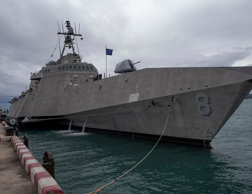 On Monday, the littoral combat ship Montgomery is one of the ships that will participate in Association of Southeast Asian Nations, ASEAN-U.S. Maritime Exercise, in Sattahip, Thailand. (Gemunu Amarasinghe/AP)