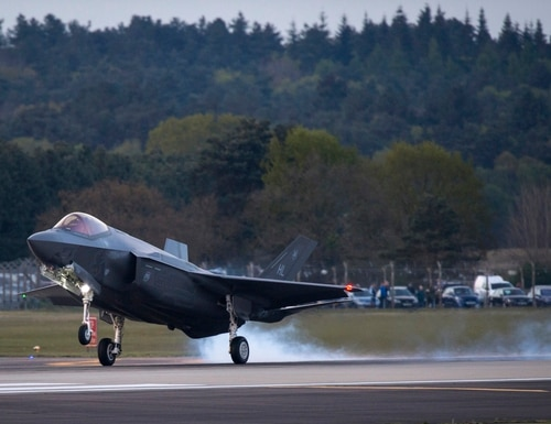 An F-35 from the 34th Fighter Squadron at Hill Air Force Base, Utah, lands at Royal Air Force Lakenheath, England, on April 19, 2017. (Staff Sgt. Emerson Nuñez/U.S. Air Force)