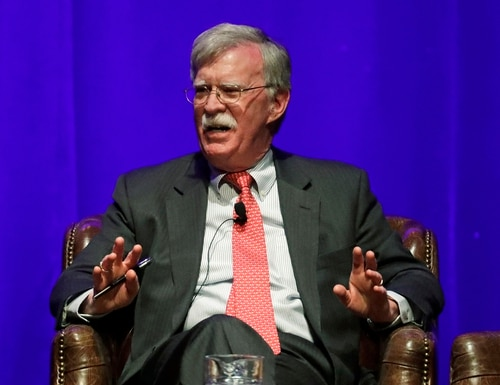 In this Feb. 19, 2020, file photo, former national security adviser John Bolton takes part in a discussion on global leadership at Vanderbilt University in Nashville, Tenn. (Mark Humphrey/AP)