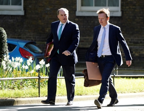 Britain's Defence Secretary Ben Wallace (L) arrives at 10 Downing Street in central London to attend the government's daily COVID-19 briefing on April 20, 2020. (Photo by NIKLAS HALLE'N/AFP via Getty Images)