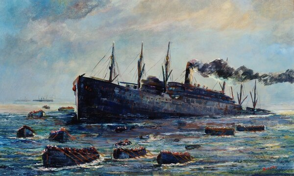 Oil on canvas painting by Edmund Sears Sayer; 1937, depicting the sinking of the U.S. troop transport President Lincoln on May 31, 1918, by German U-Boat 90. (U.S. Naval History and Heritage Command)