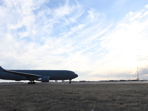 The first KC-46A Pegasus lands on the flightline of the 97th Air Mobility Wing at Altus Air Force Base in Oklahoma on Feb. 8, 2019. (U.S. Air Force)