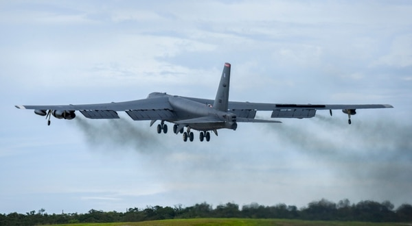 A U.S. Air Force B-52H Stratofortress bomber takes off from Andersen Air Force Base, Guam, for a routine training mission in the vicinity of the South China Sea and Indian Ocean on Sept 23. (Senior Airman Christopher Quail/Air Force)