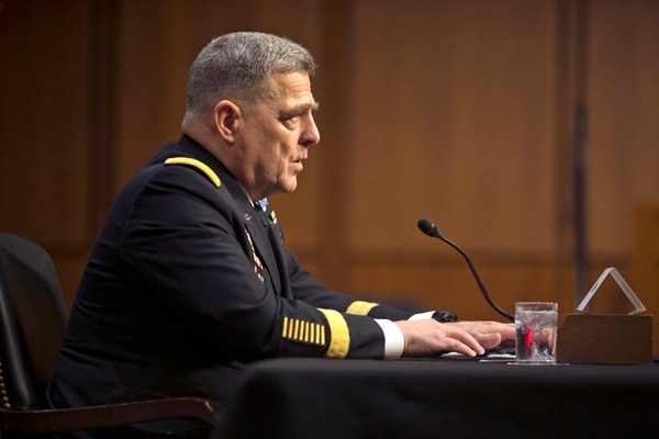 Gen. Mark Milley, currently in charge of Army Forces Command, answers questions during his nomination hearing to be Army Chief of Staff before the Senate Armed Services Committee on Capitol Hill in Washington, D.C., on Tuesday, July 21, 2015.