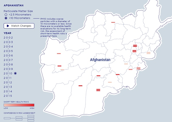 A heat map, based on data from Defense Department Periodic Occupational and Environmental Monitoring Summary documents, showed burn pit risks in Afghanistan during 2010 (Center for a New American Security).