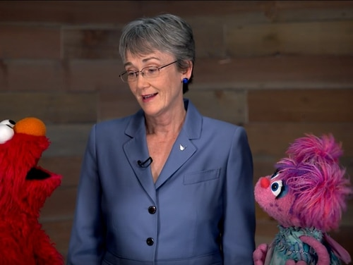 Air Force Secretary Heather Wilson talks about the importance of STEM education with Sesame Street characters Elmo and Abby Cadabby. (Screenshot from Air Force video)