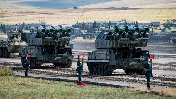 Russian military vehicles parade at the Vostok-2018 (East-2018) military drills at Tsugol training ground in Siberia, near the borders with China and Mongolia on Sept. 13, 2018. (Mladen Antonov/AFP via Getty Images)